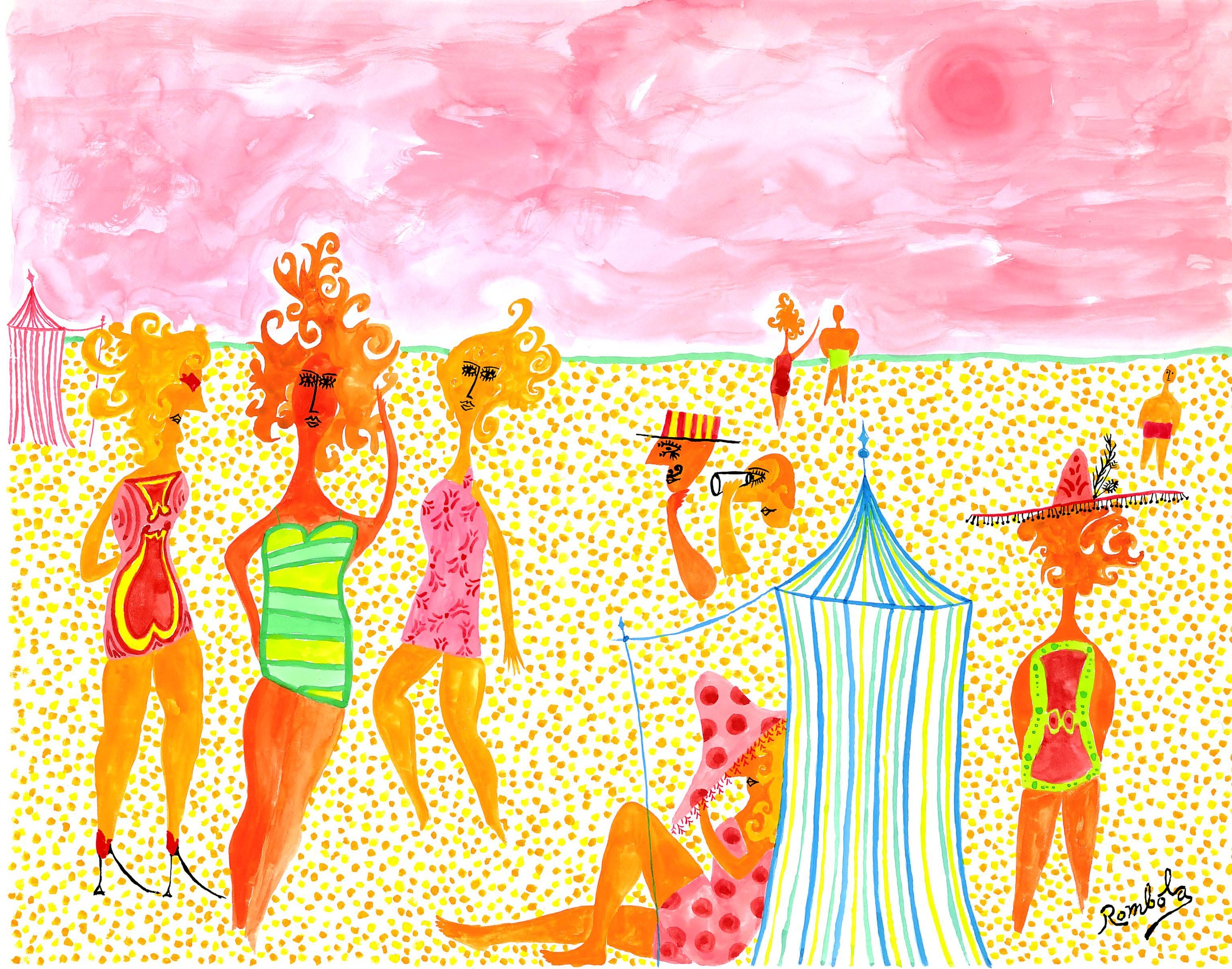 The Crowded Beach    Gouache on paper 1960