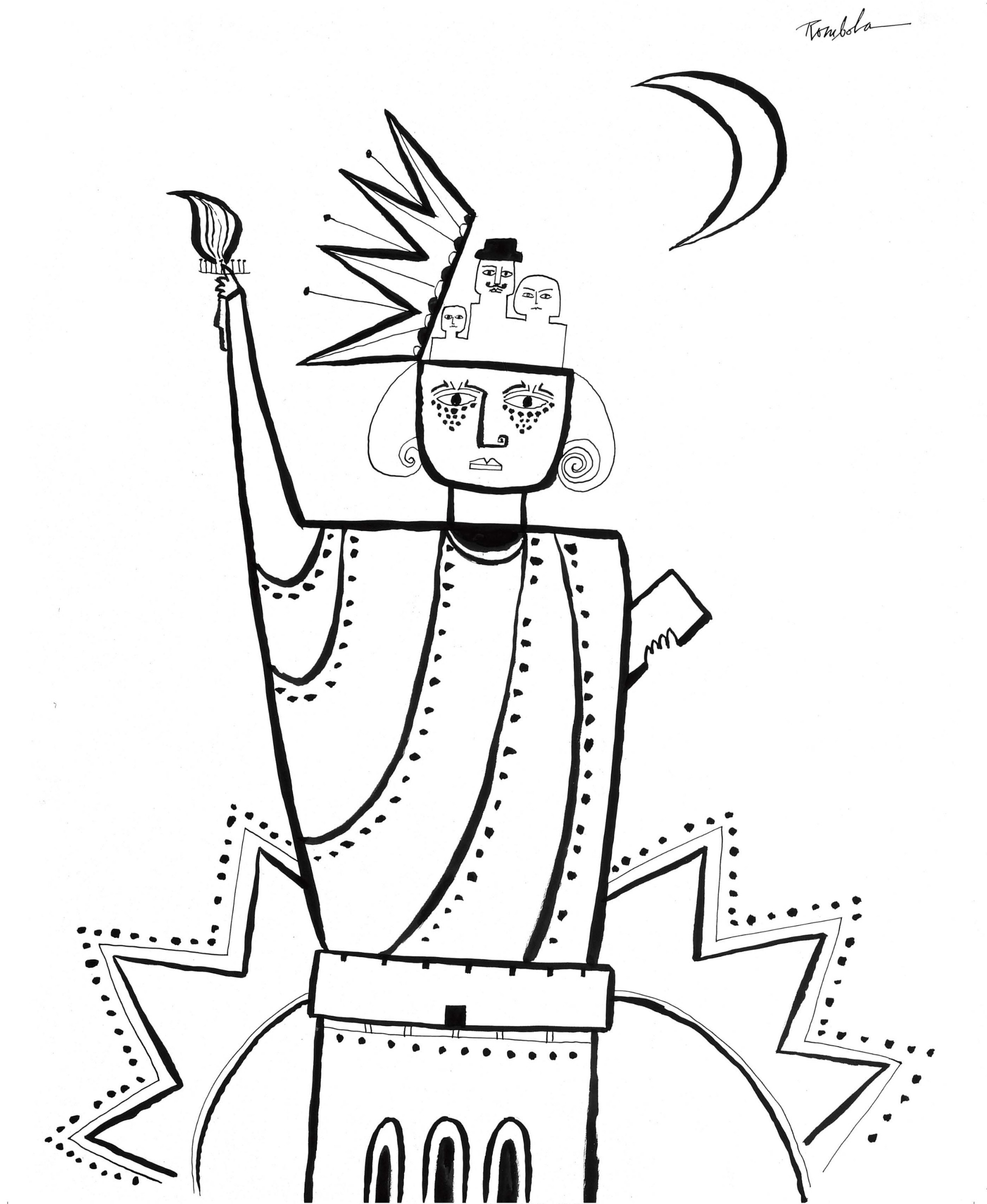 Statue of Liberty   1966 Ink on paper.