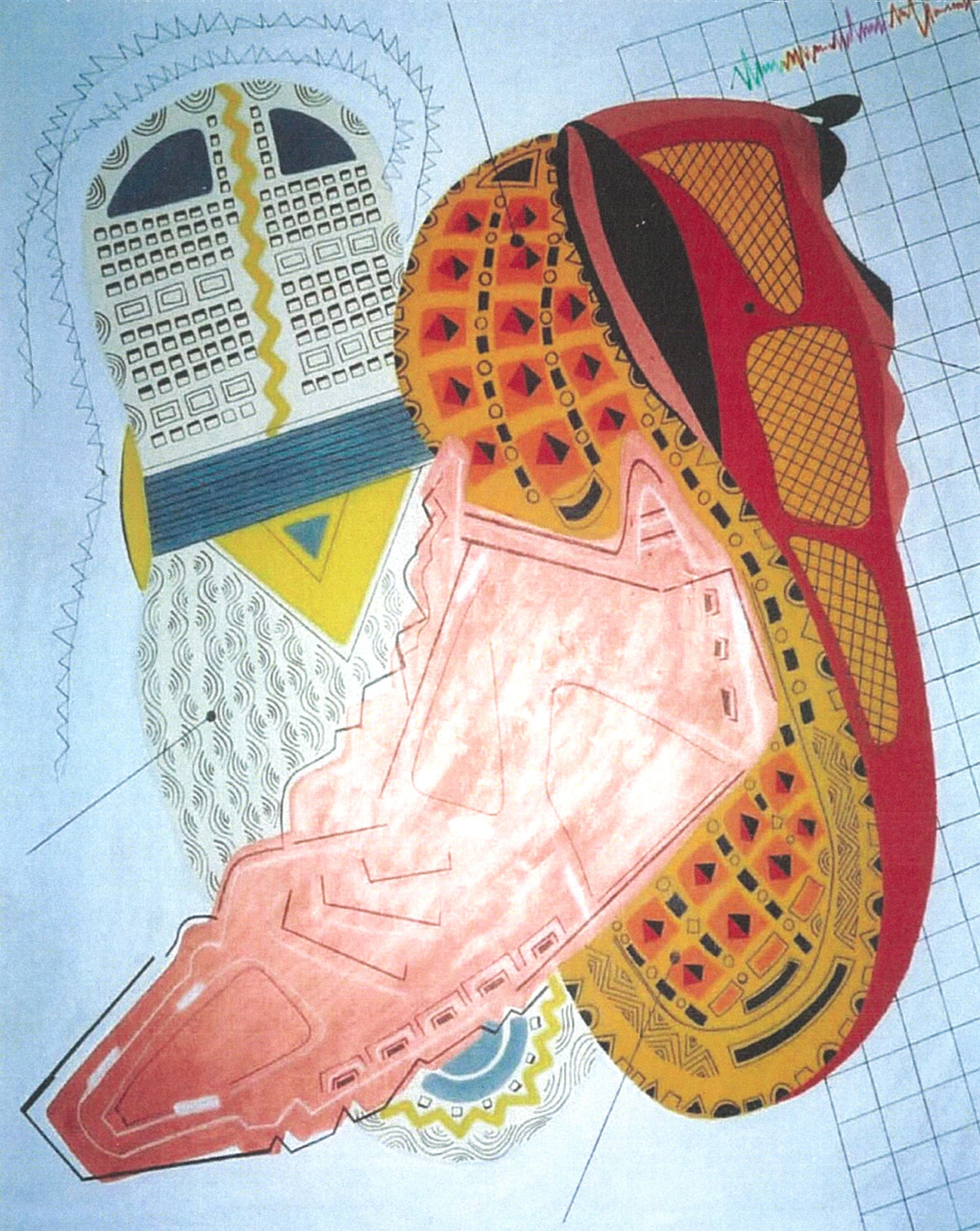 Three Athletic Shoes   Acrylic on canvas 72 X 60