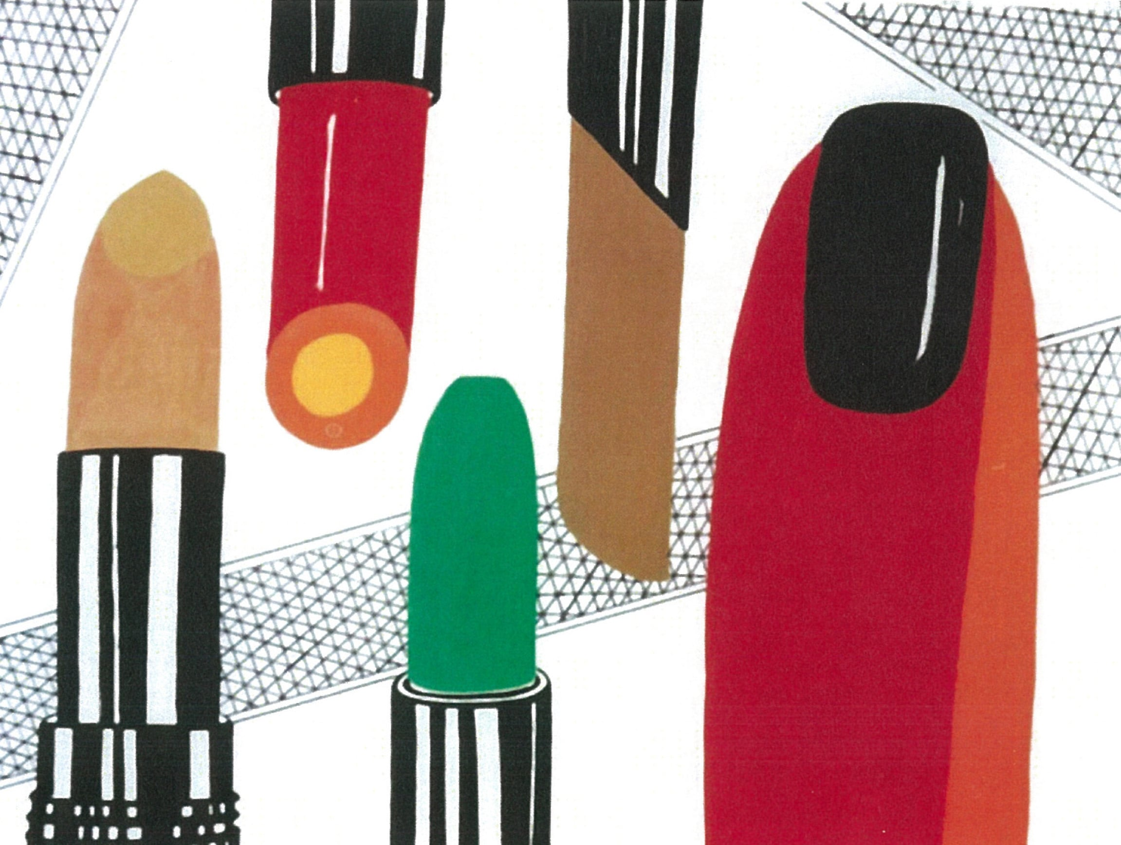 Lipsticks   Gouache Perm Marker on illus Board 30X40