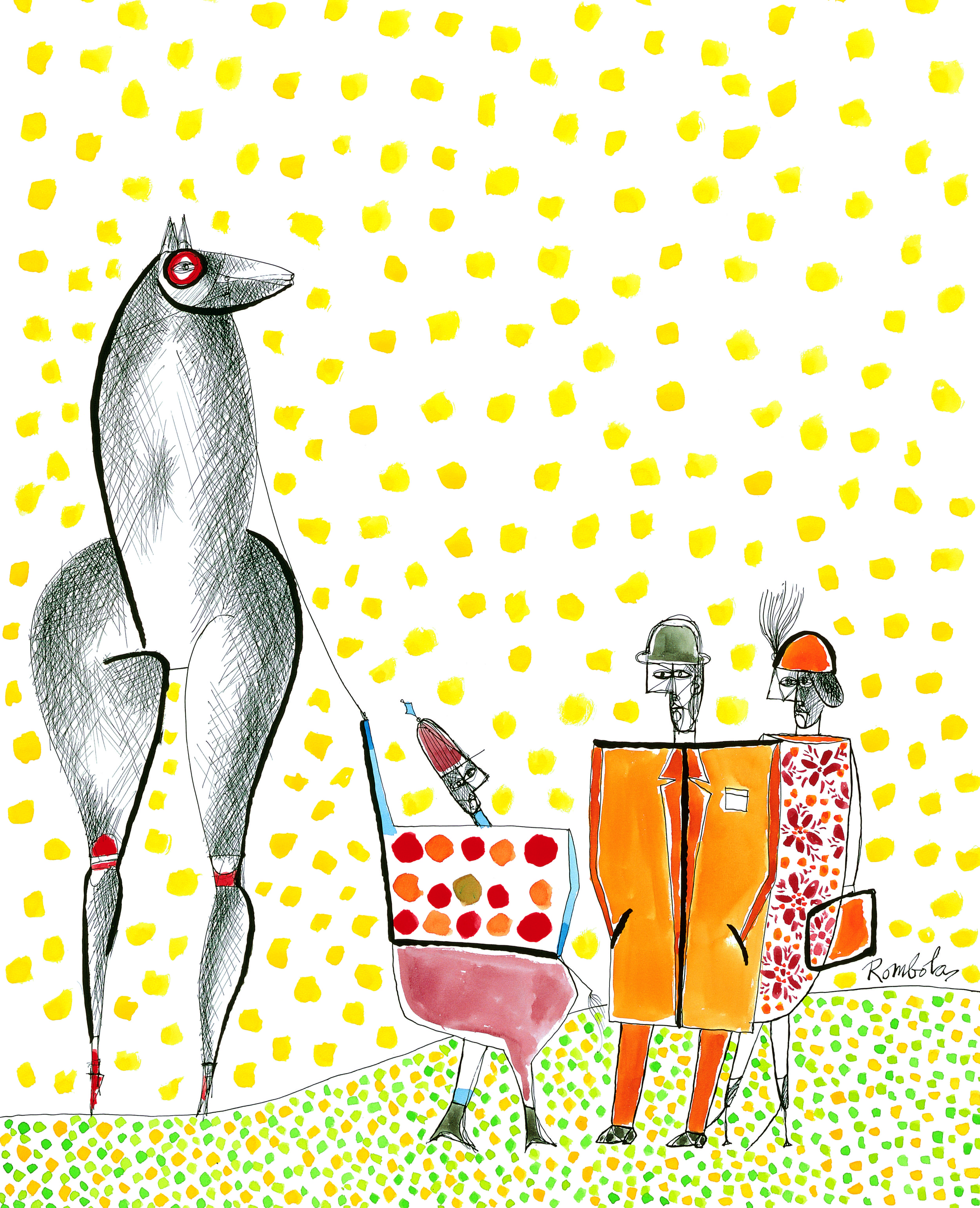 Horse Owners with Jockey    Gouache and ink on paper 1960