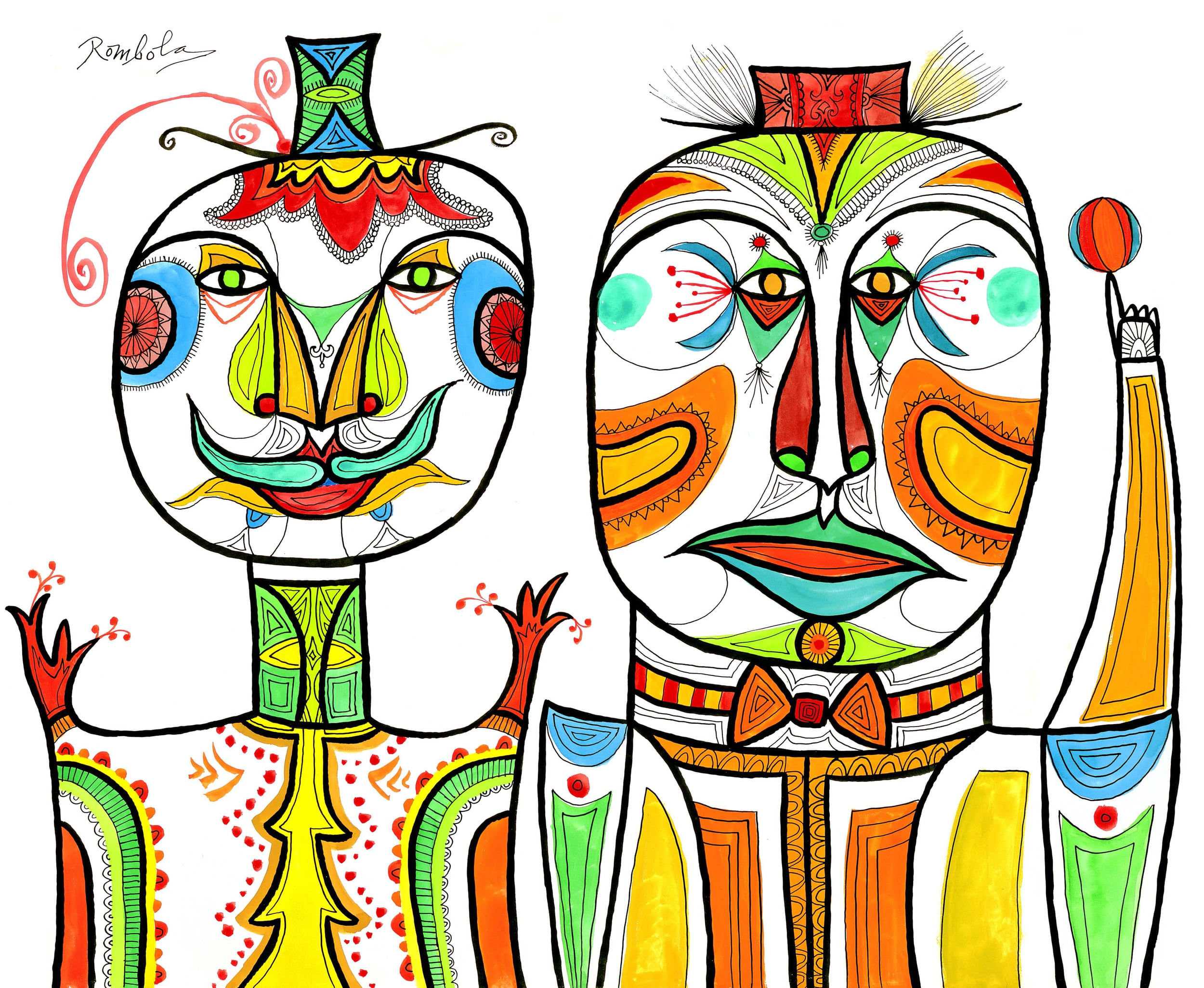 Two Clowns    Gouache and ink on paper 1956