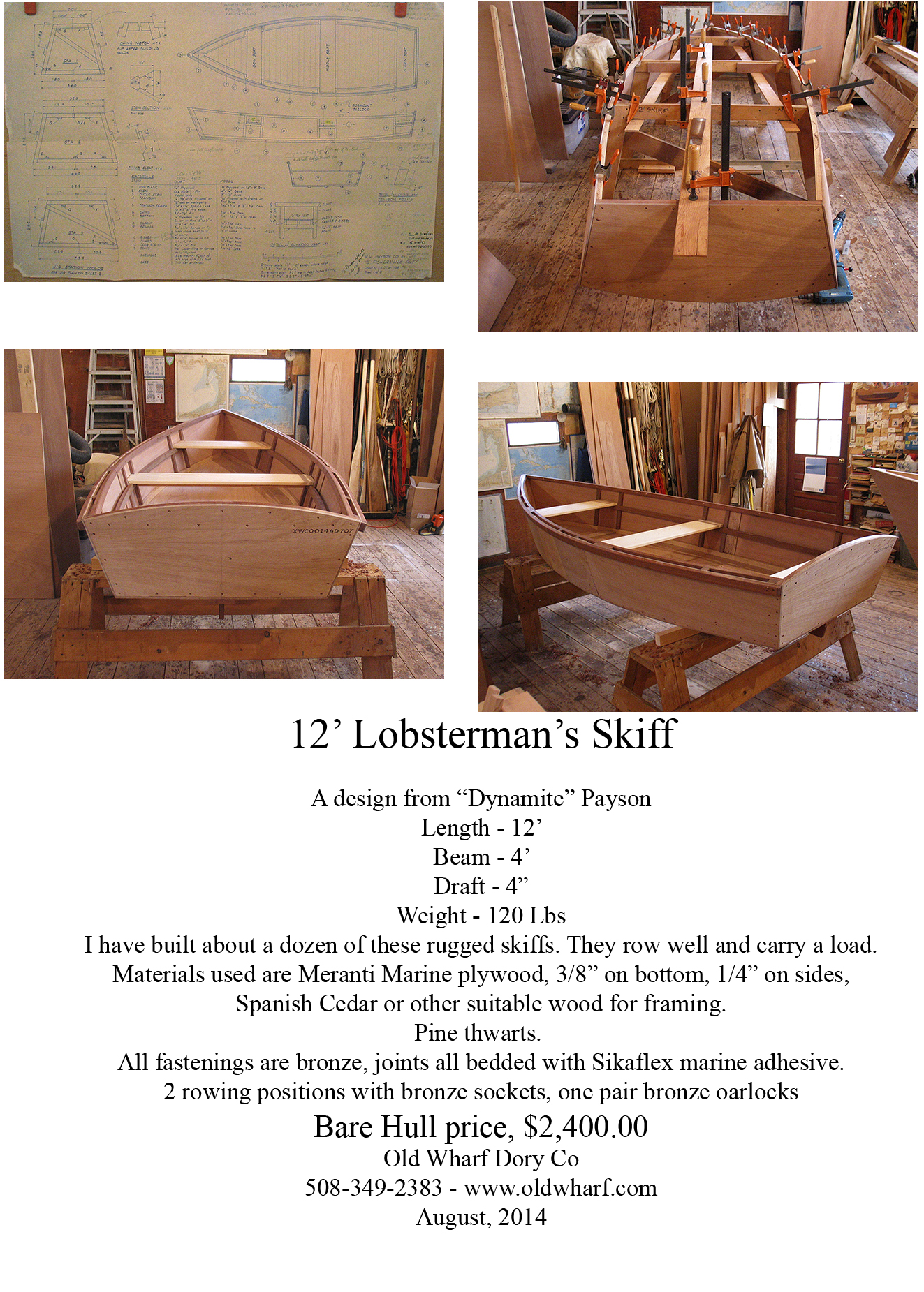 Some Info on the 12' Lobsterman's skiff.