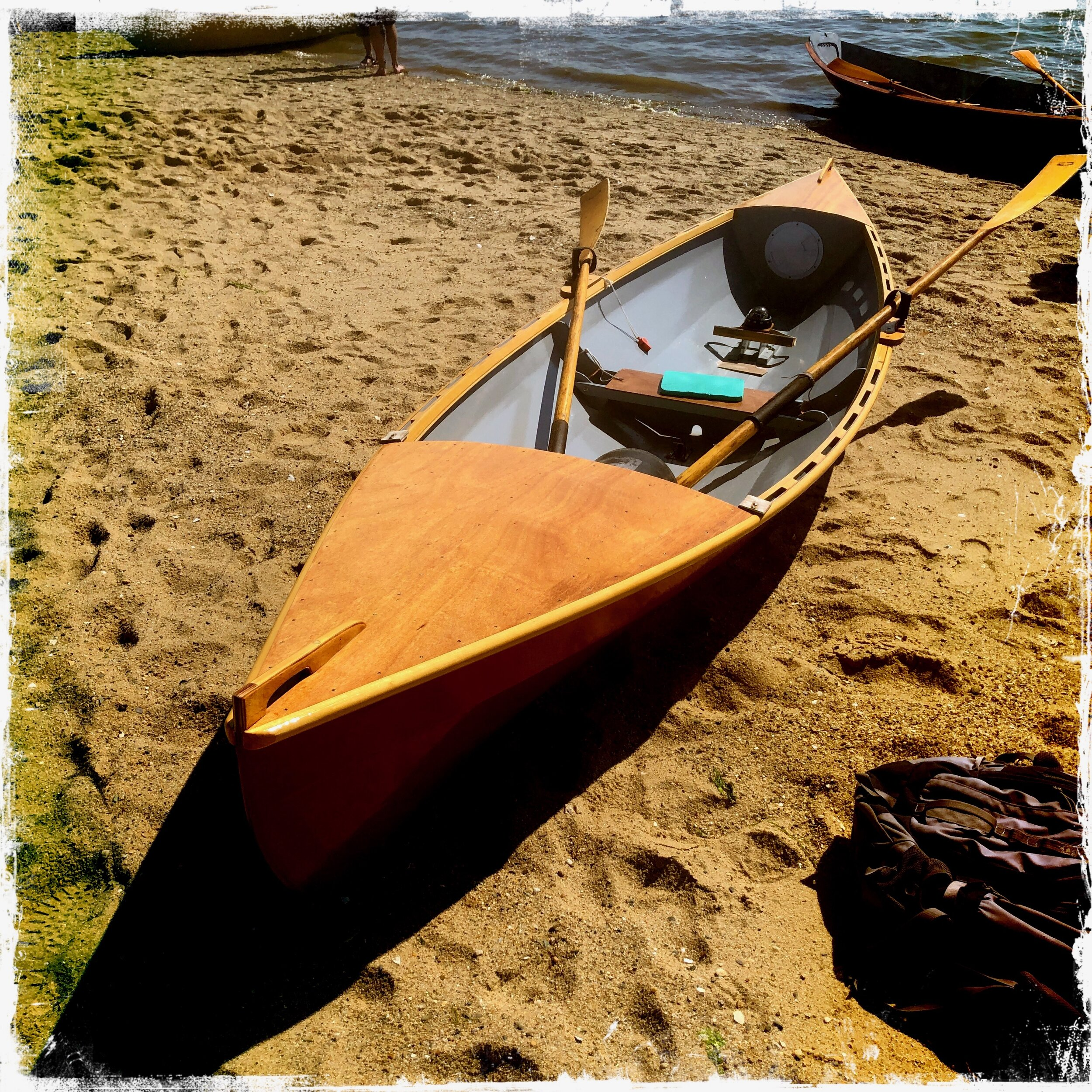 Jon Aborn's latest design- notice the plywood end decks, grab handles,  Gaco oarlocks,  open rails, rowing compass, spoon blade oars, whistle…