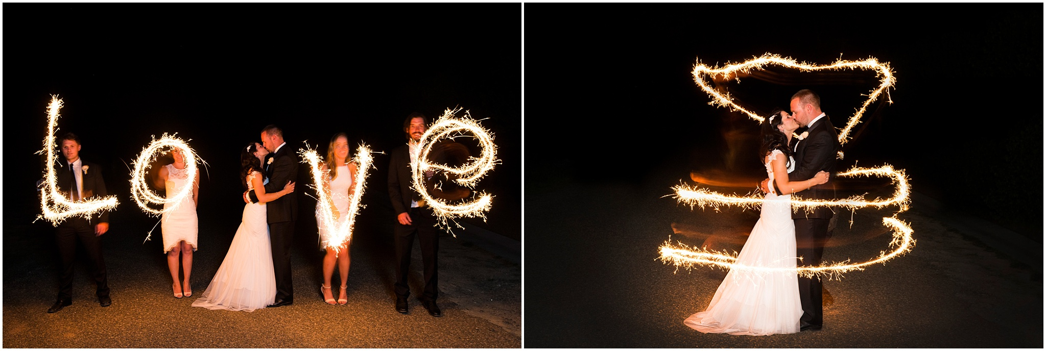 Bride and groom kiss while bridal party trace the word love with sparklers.