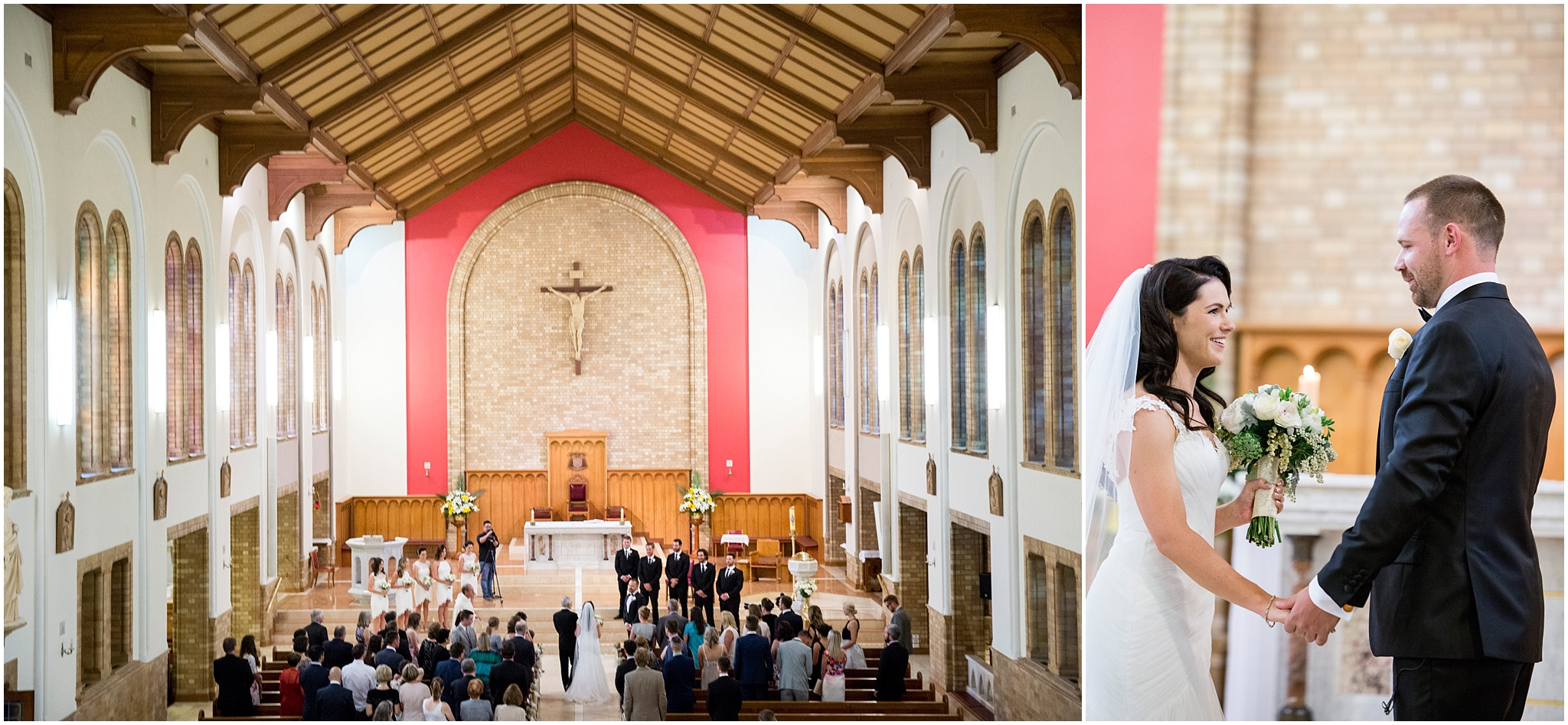 Couple getting married at St Christopher's Cathedral in Manuka.