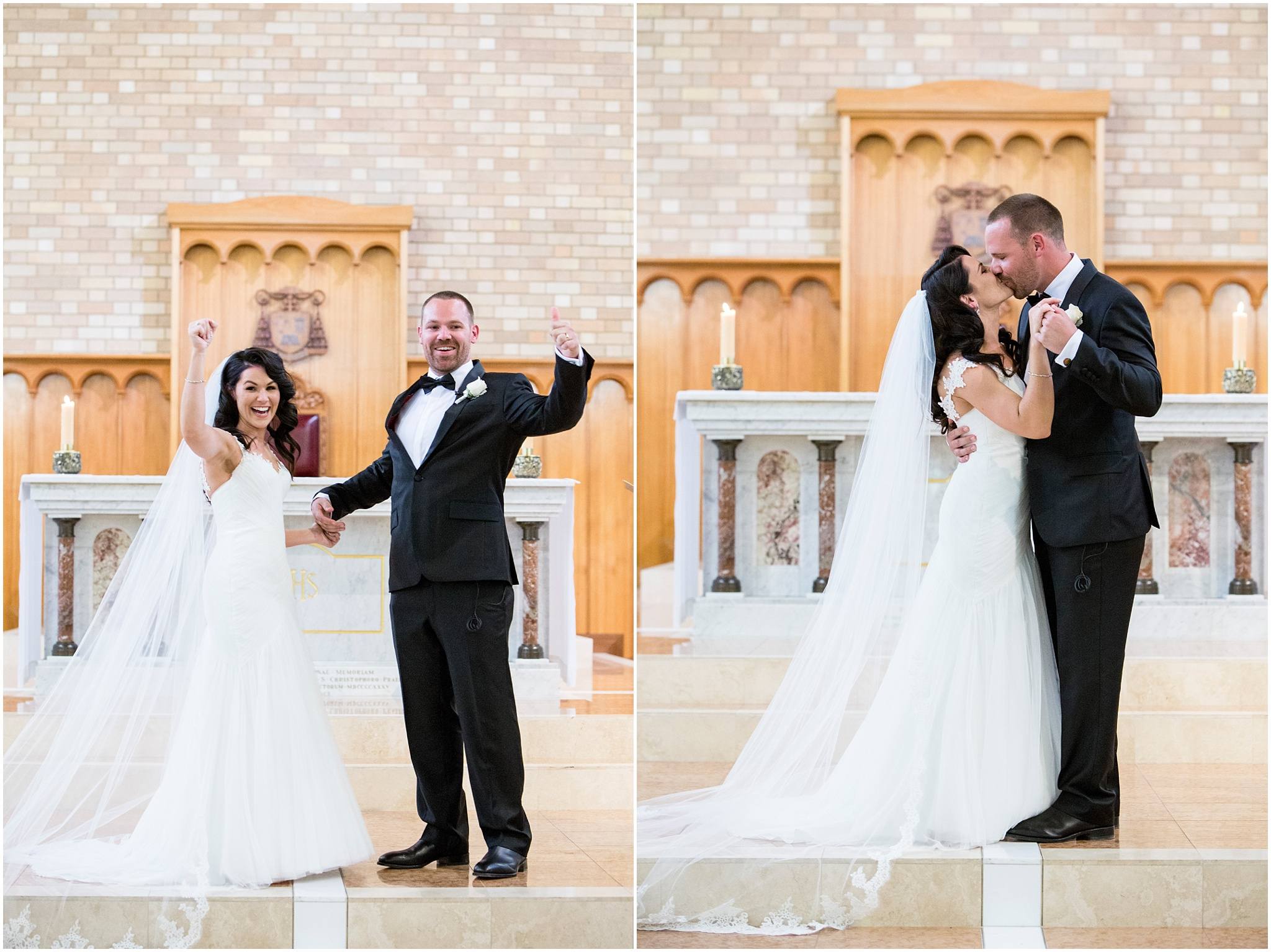 Bride and groom celebrate their marriage by kissing and cheering with hands in the air.