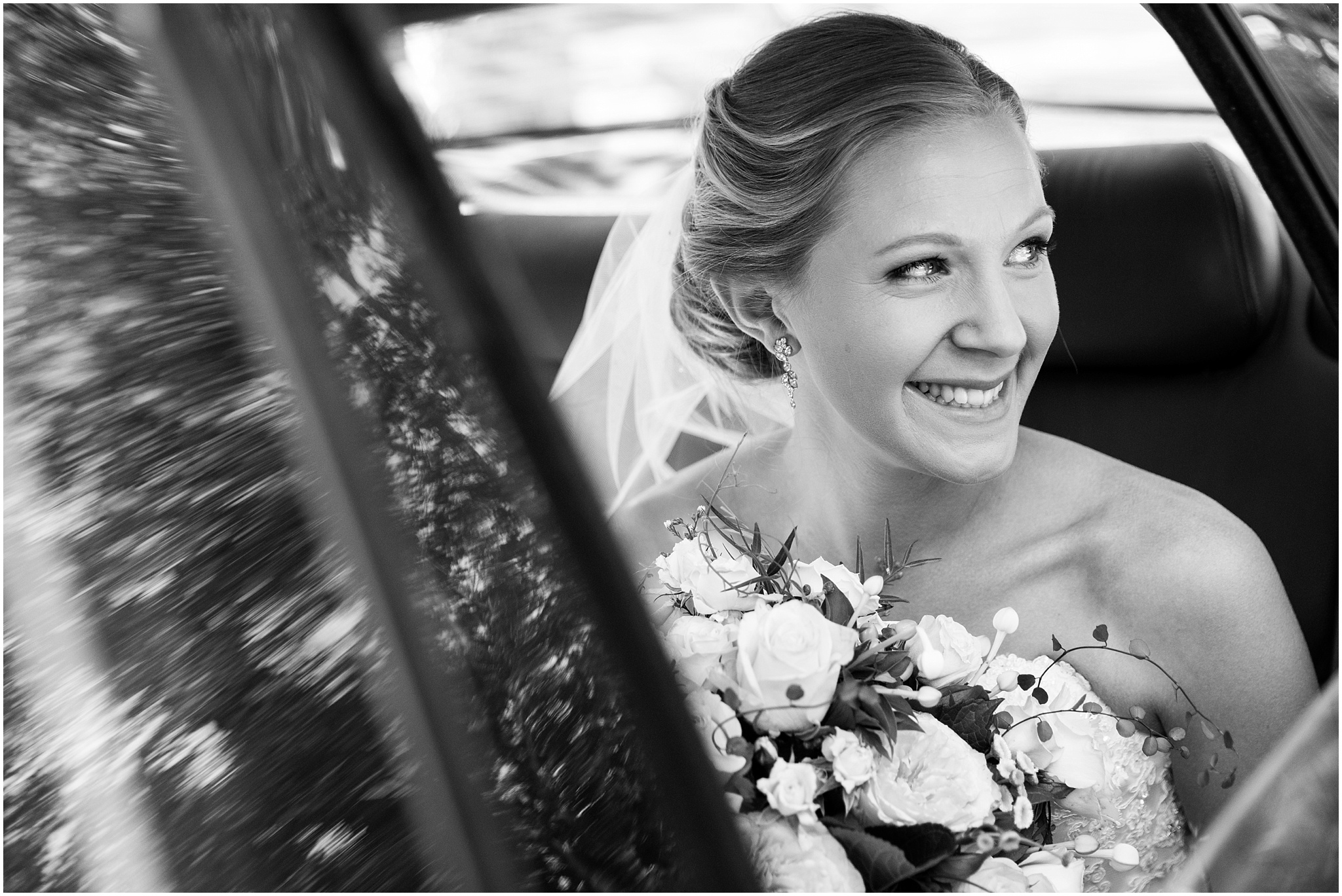 Bride arriving in her wedding car - The Chapel at Gold Creek
