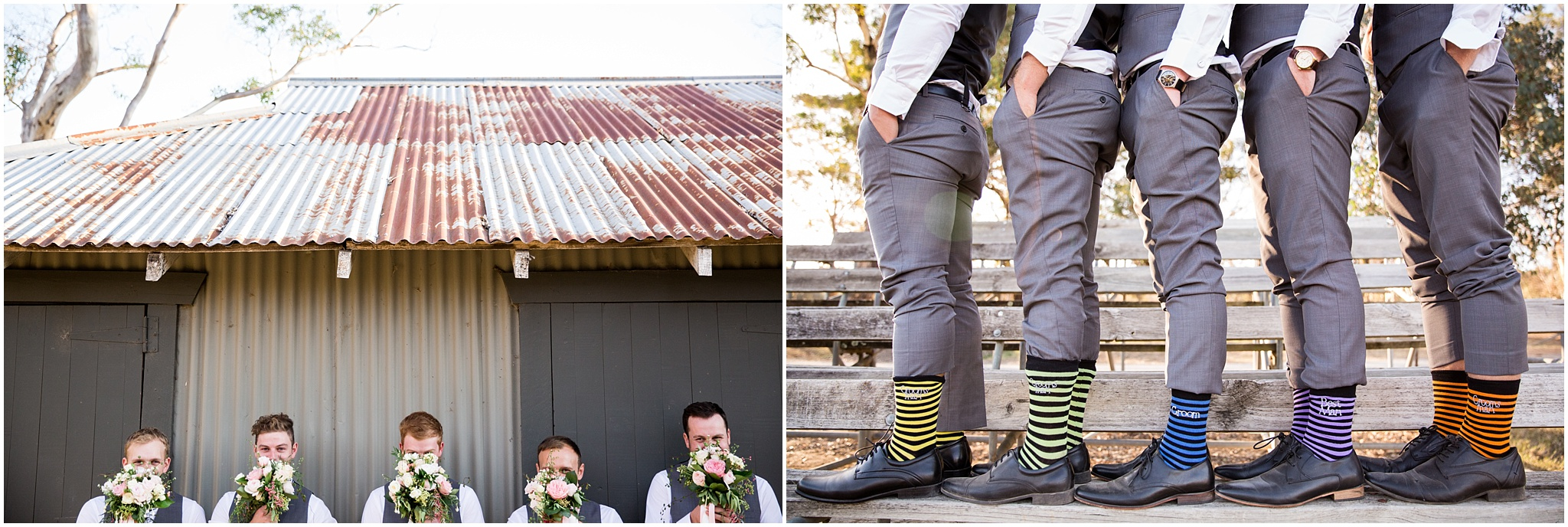 Photos of groomsmen having fun and their coloured socks - Gold Creek Wedding