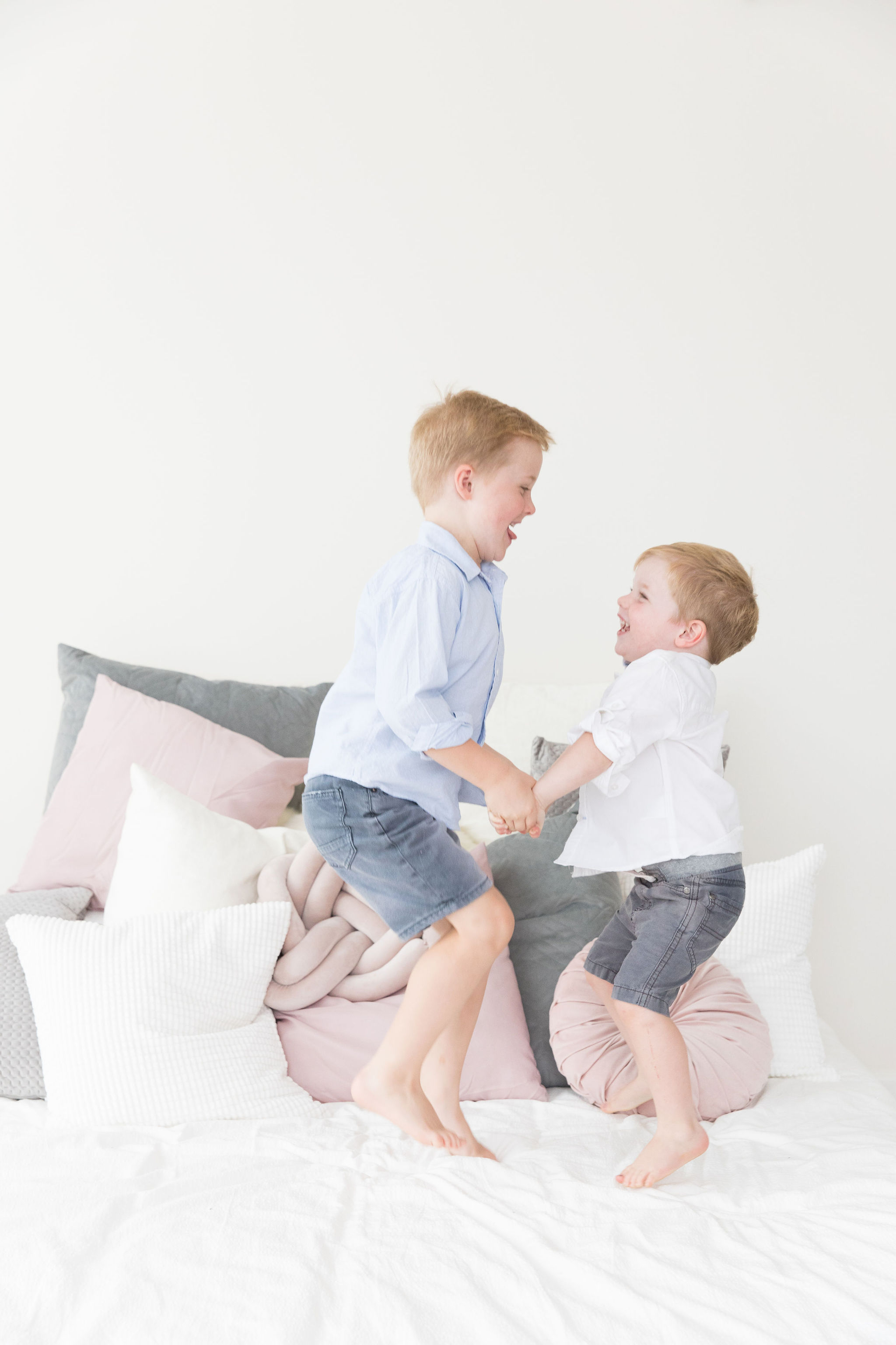 Kids Jumping on a bed - Family Photography Canberra