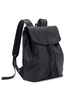 Eileen Fisher Drawstring Backpack in Pebbled Leather