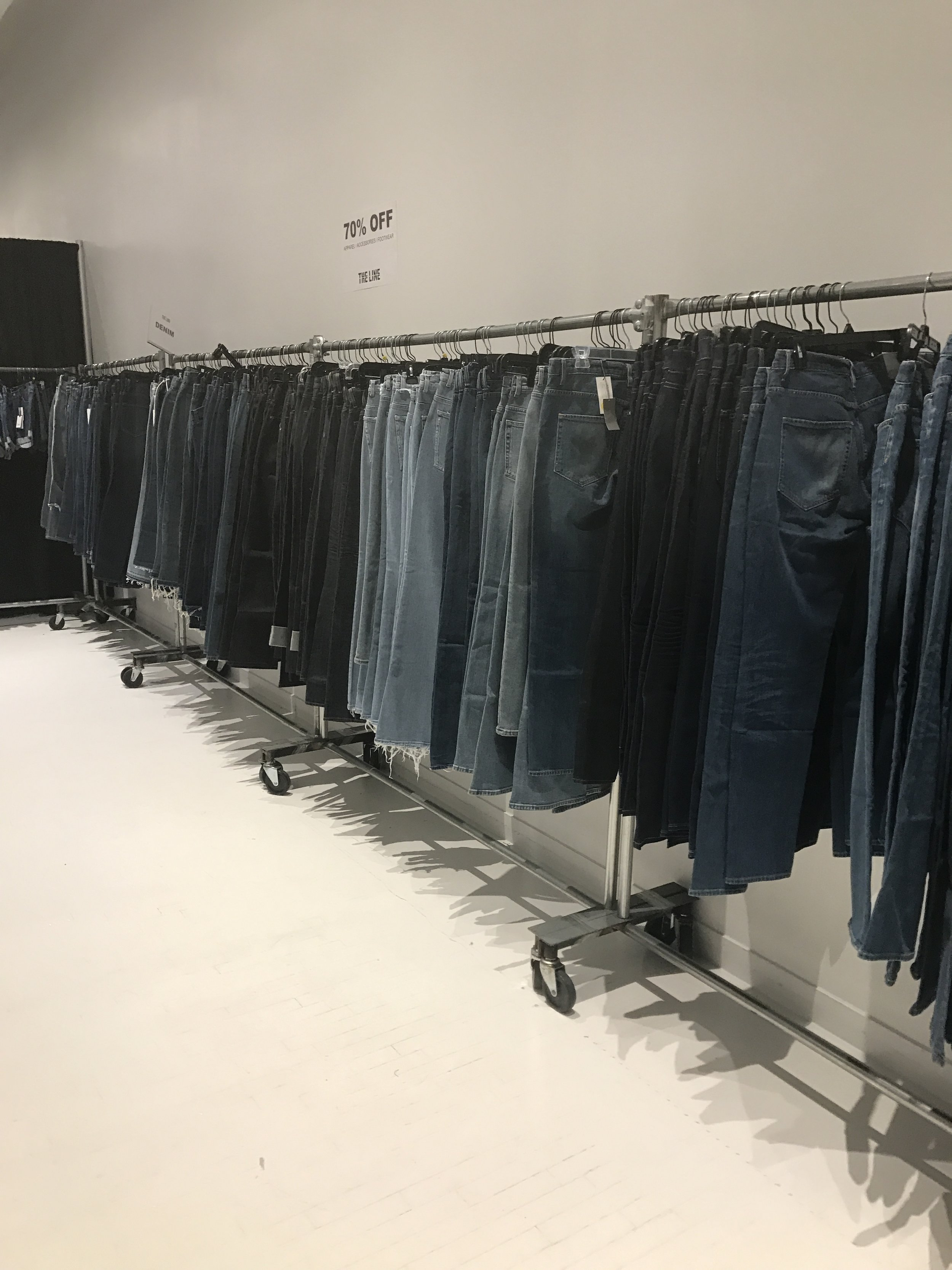 As you progress further down the right you will find denim by Acne Studios, 3XL, and Alexander Wang to name a few. I spotted a varitey of sizes ranging from 24-32.