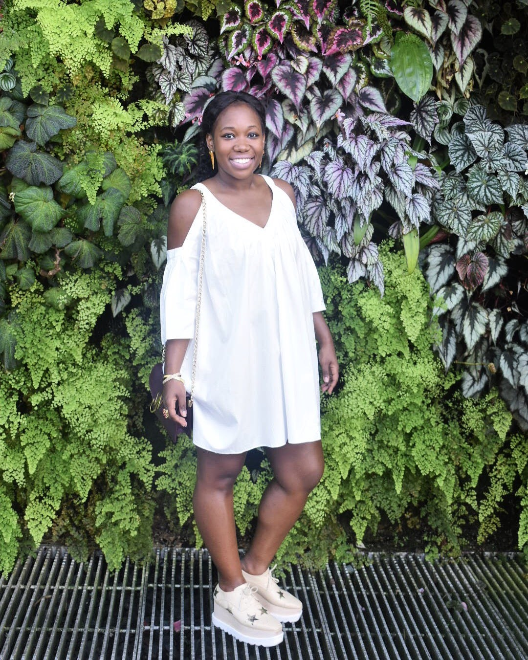 This Rebecca Minkoff dress was dressy, yet casual enough to go from a day of sighting seeing to a sky view dinner. I paired it with the Stella McCartney Elyse Platforms, that survived a day of walking.Way to go Stella!!! You can find this shoe  here .