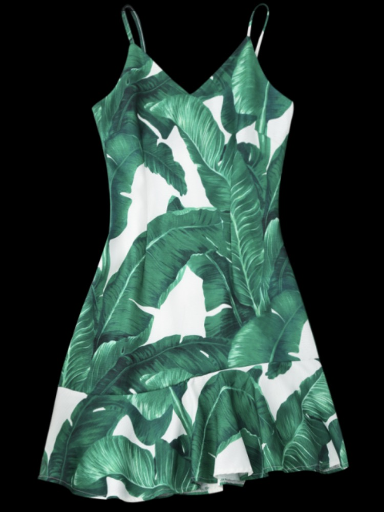 Tropical Print Ruffle Slip Summer Dress