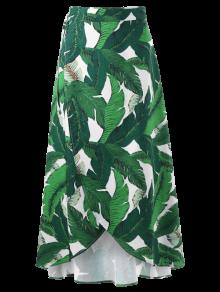 Leaf Tropical Print Wrap Skirt