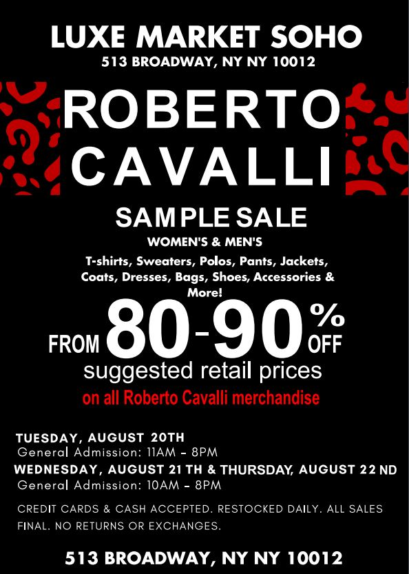 Roberto Cavalli Sample Sale.JPG
