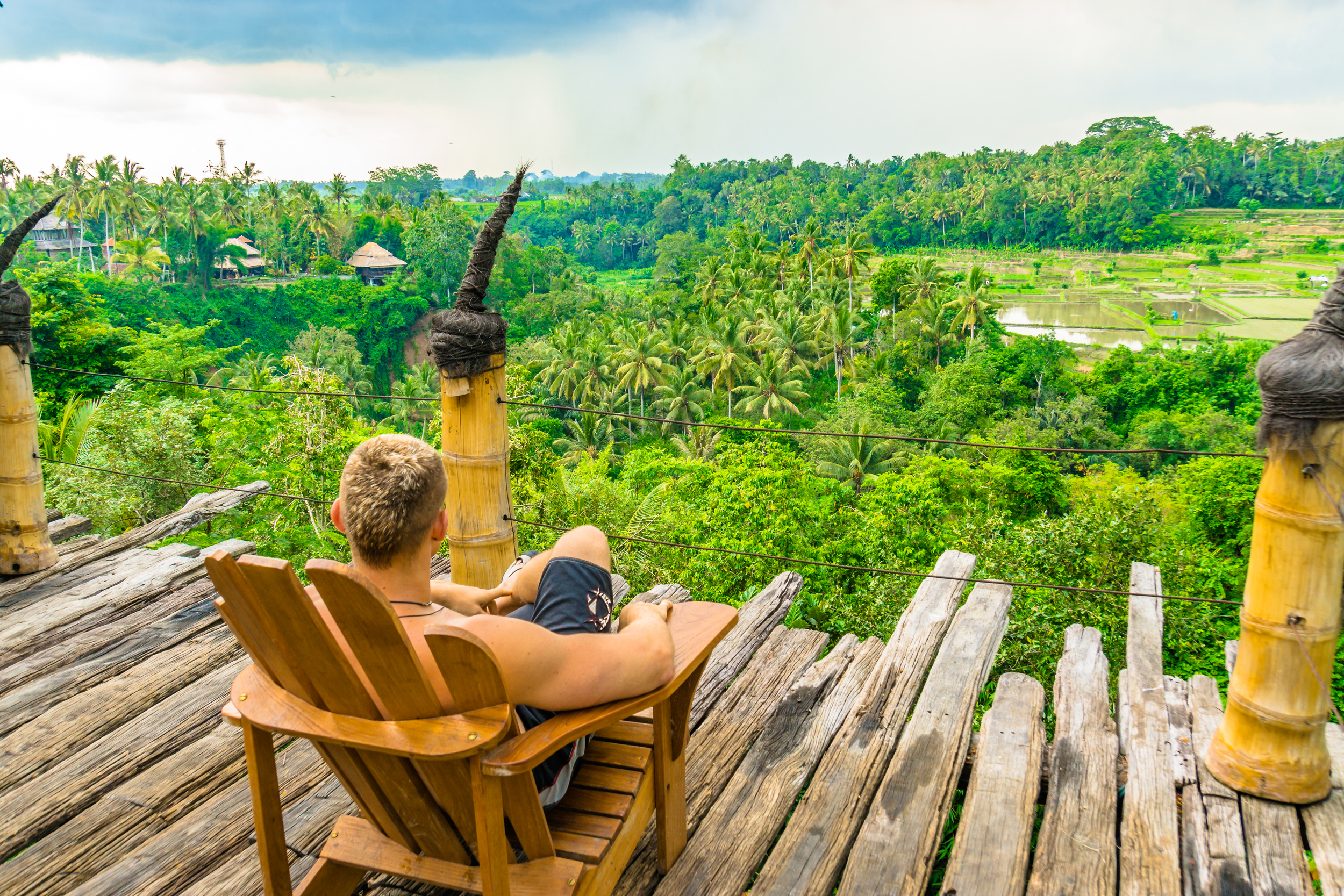 Overlooking the rice fields and Ayung river from the Afrika Deck at Bambu Indah Eco Resort.