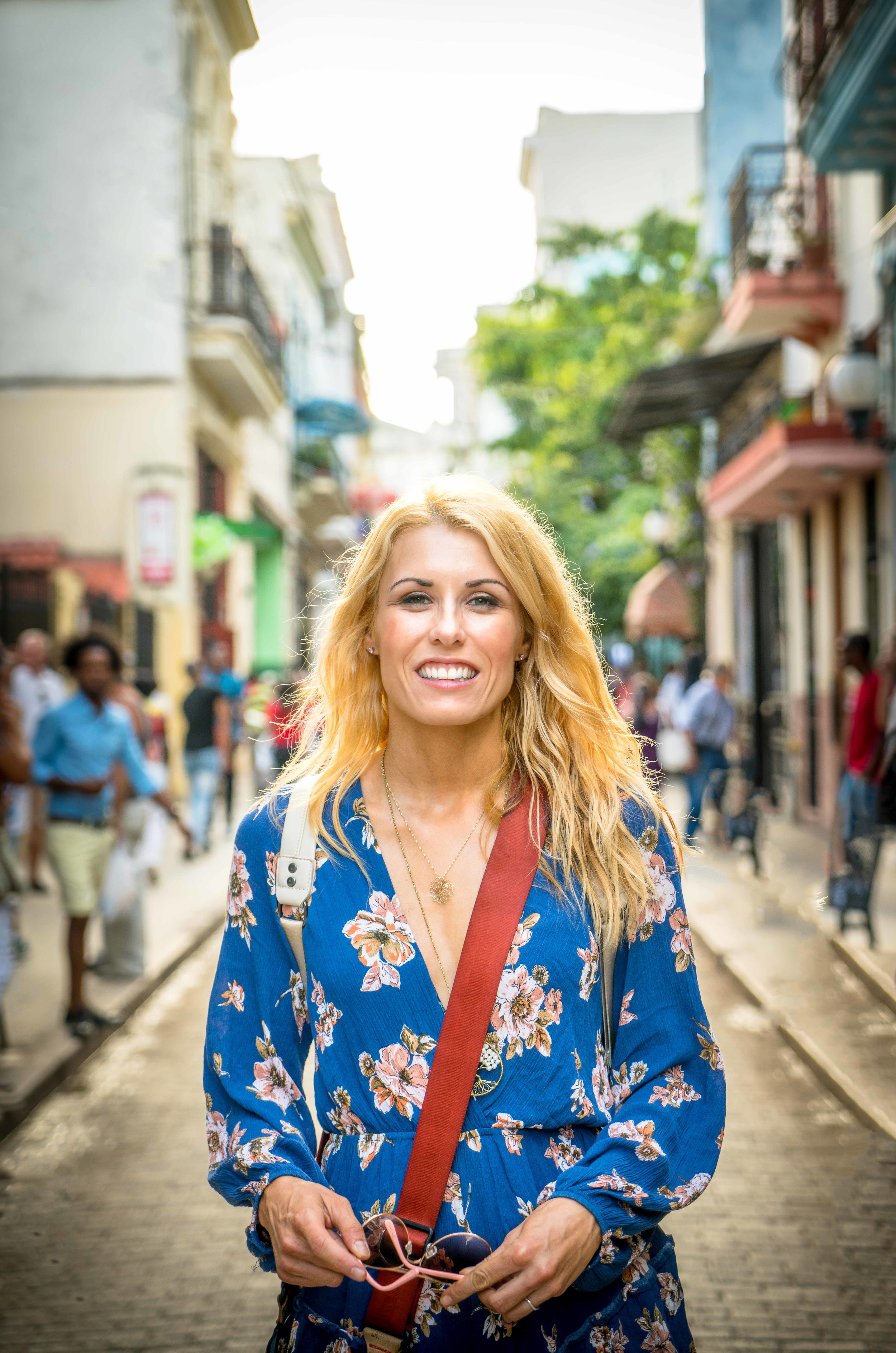 Walking around the colorful streets of Cuba.