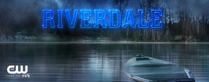 [Still image of promotional art for  Riverdale , with the name of the show imposed over an image of a lake and a sinking boat.]