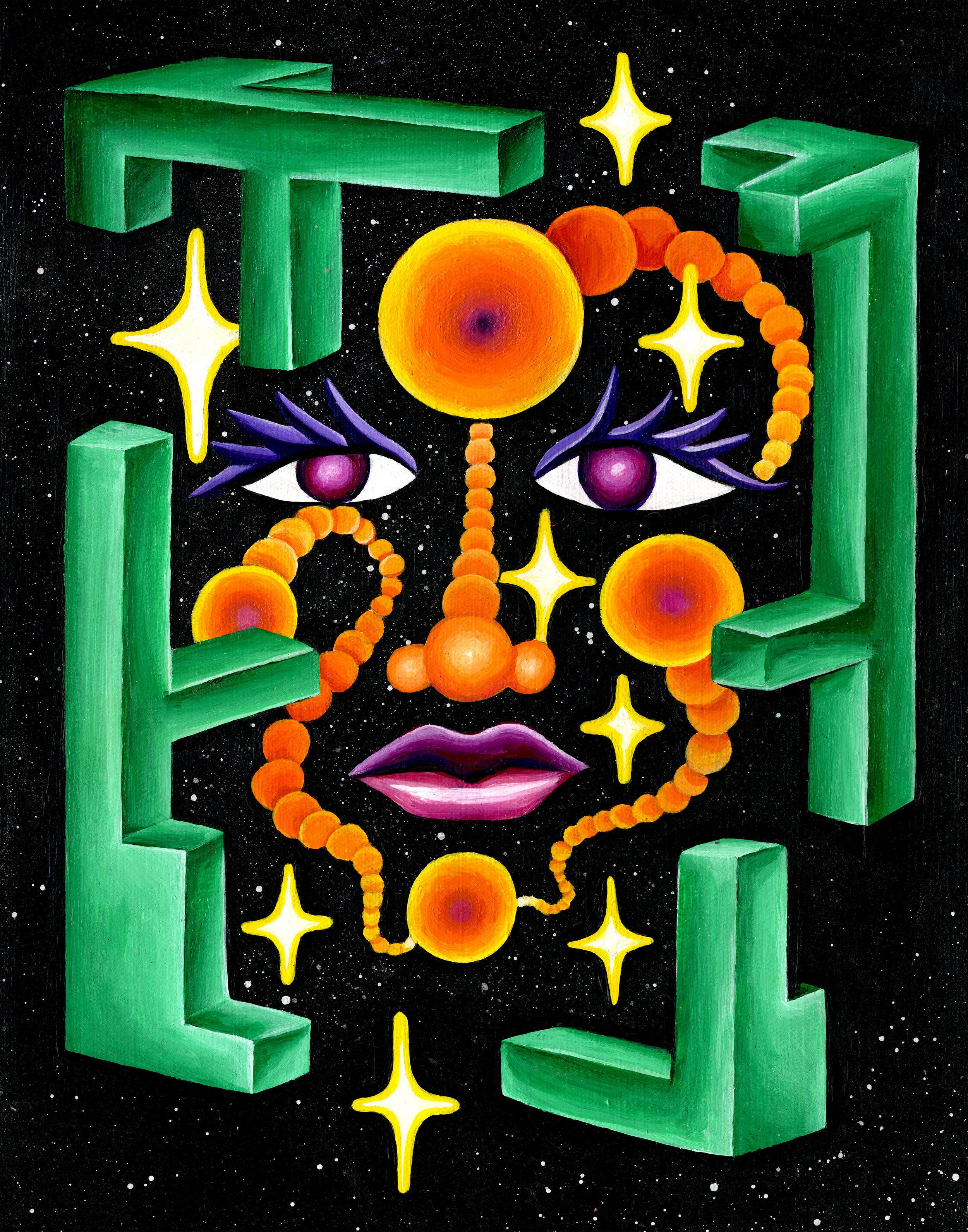 """Space Face I  11"""" x 14"""" acrylic on canvas 2016"""