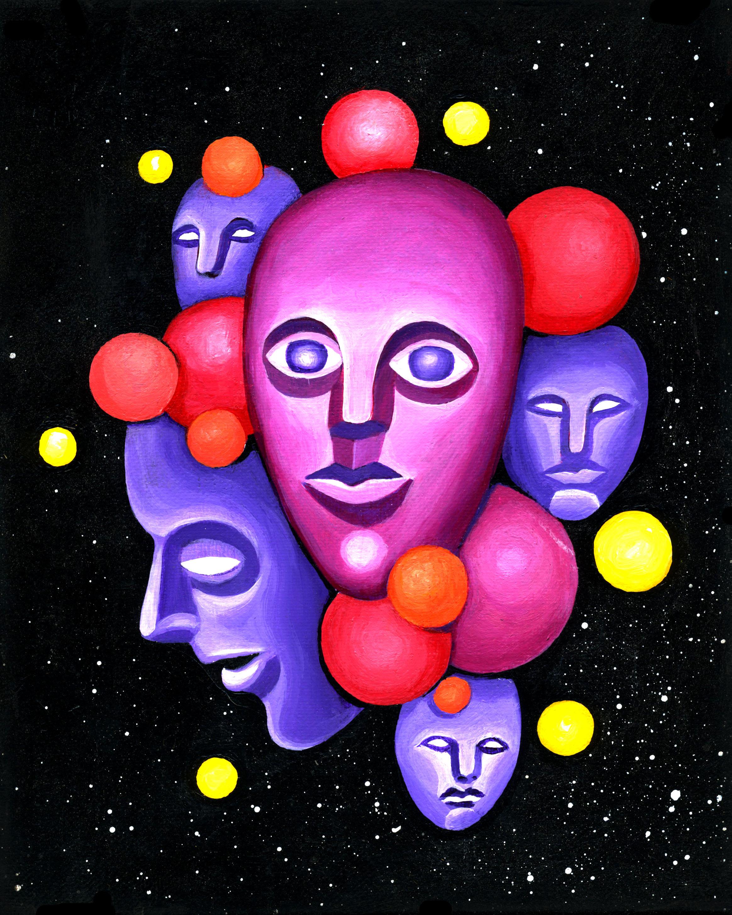 """Space Face III  8"""" x 10"""" acrylic on canvas 2016"""