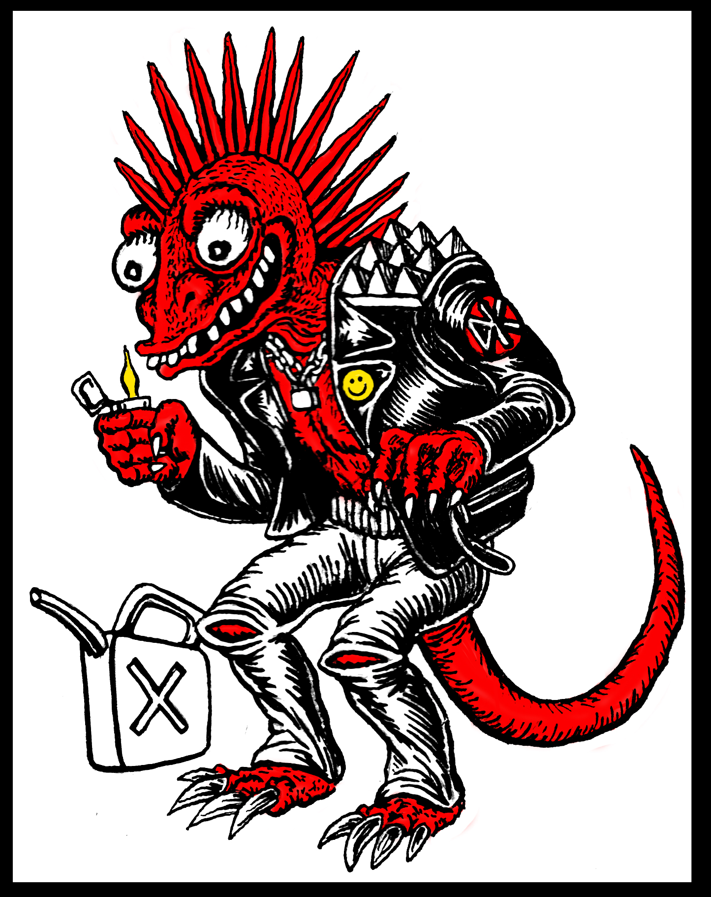 Lizard Punk Sticker Design  2013 ink and digital