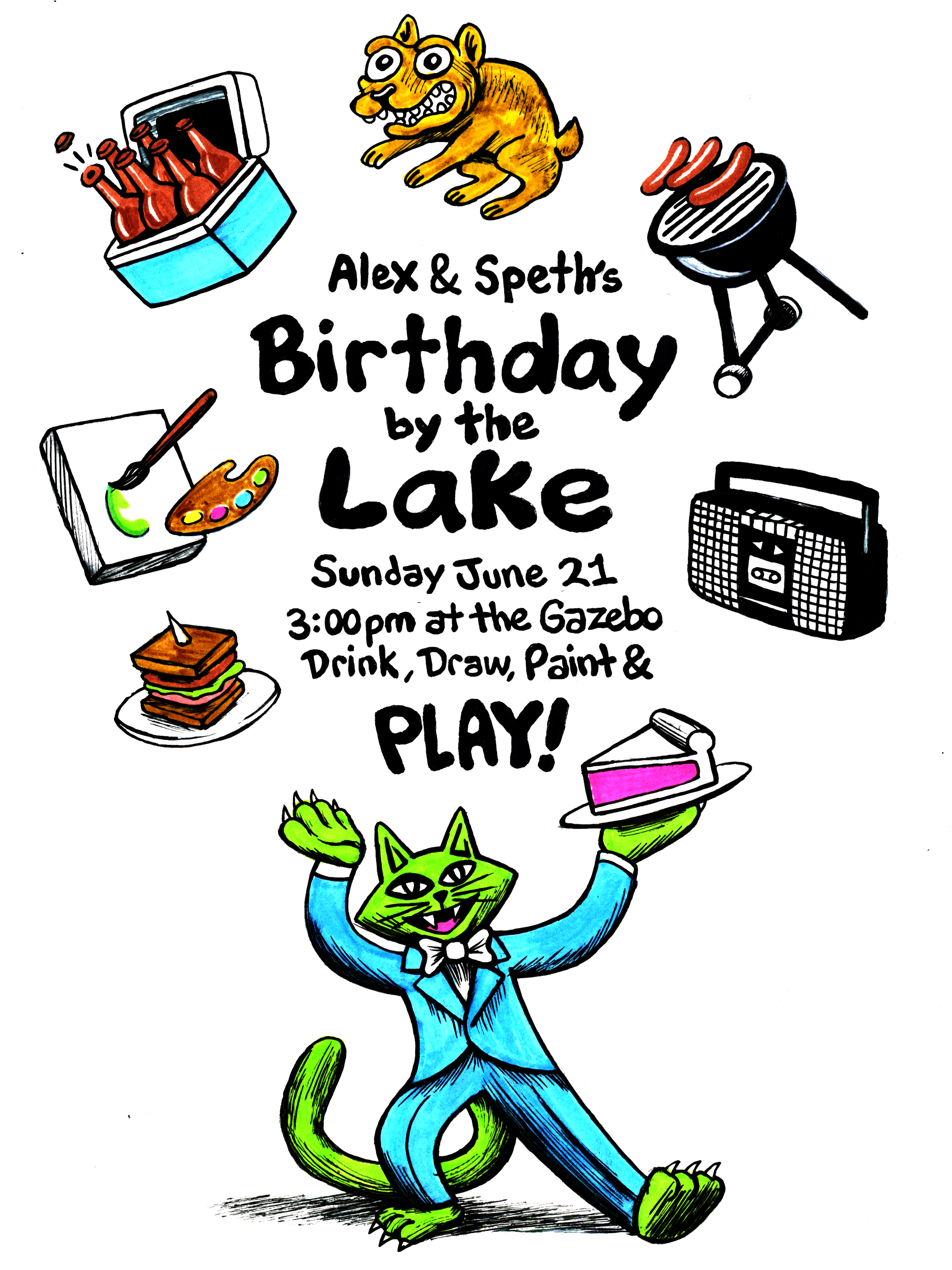 Flyer artwork for birthday event  2015 ink on paper