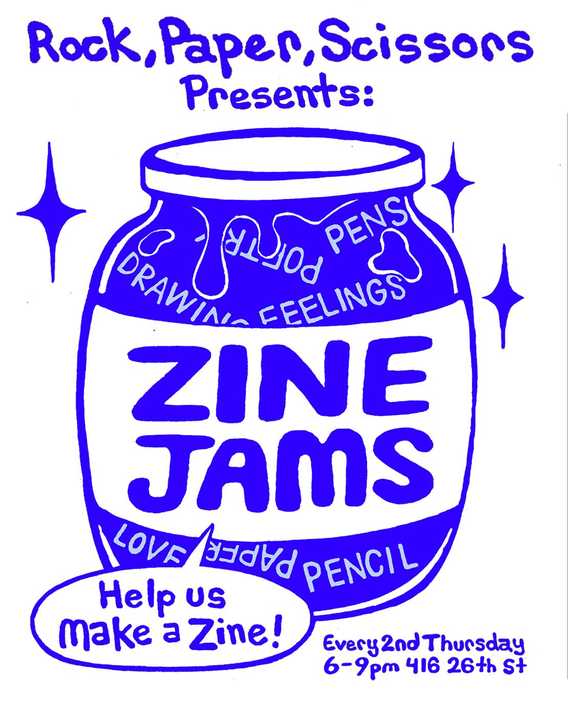 """Zine Jams"" Flyer Design  2018"