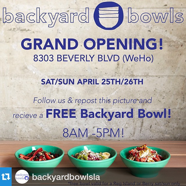#Repost @backyardbowlsla with @repostapp.・・・Join us this weekend at Backyard Bowls LA!!! We will also be doing 50% off our entire menu all weekend long in celebration of our grand opening 🙌 #backyardbowls #backyardbowlsLA #acaibowls #smoothies #healthy #acai #westLA #weho #deals #liveclean #organic #greenbusiness #grandopening
