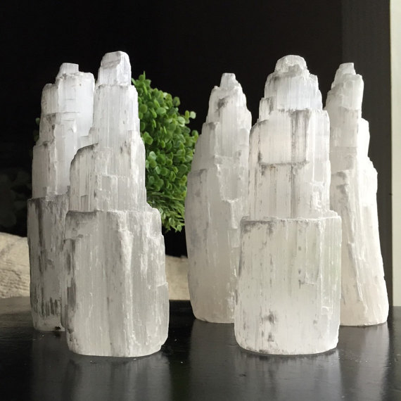 The shape of the Selenite is not important! But these gorgeous Selenite Towers from ShopMysticWillows on etsy would look so beautiful.