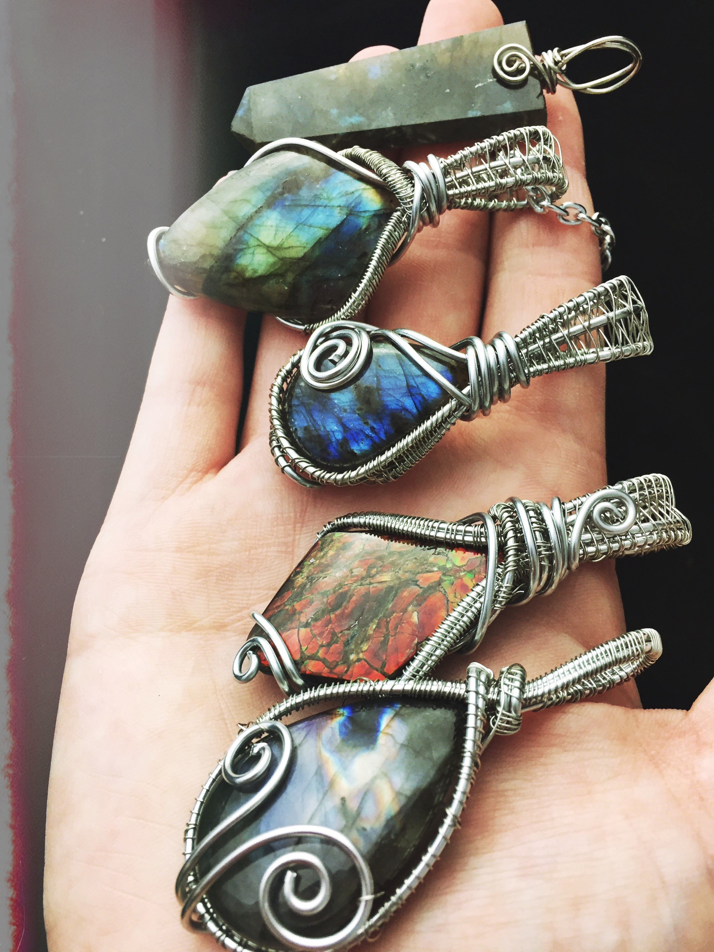 "Labradorites and another beautiful flashy crystal  ""Ammolite"""