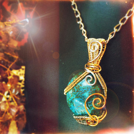 Chrysocolla pendant, handmade and on sale now by And Zen Some.