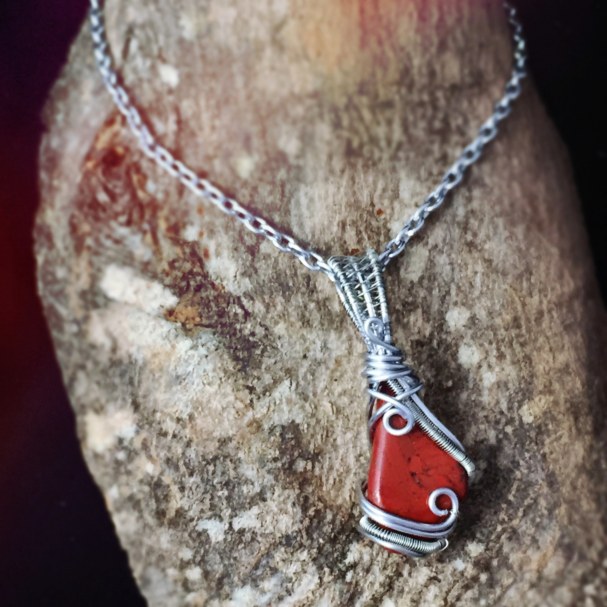 Red Jasper Wire Wrapped Healing Stone for Aries Created by And Zen Some