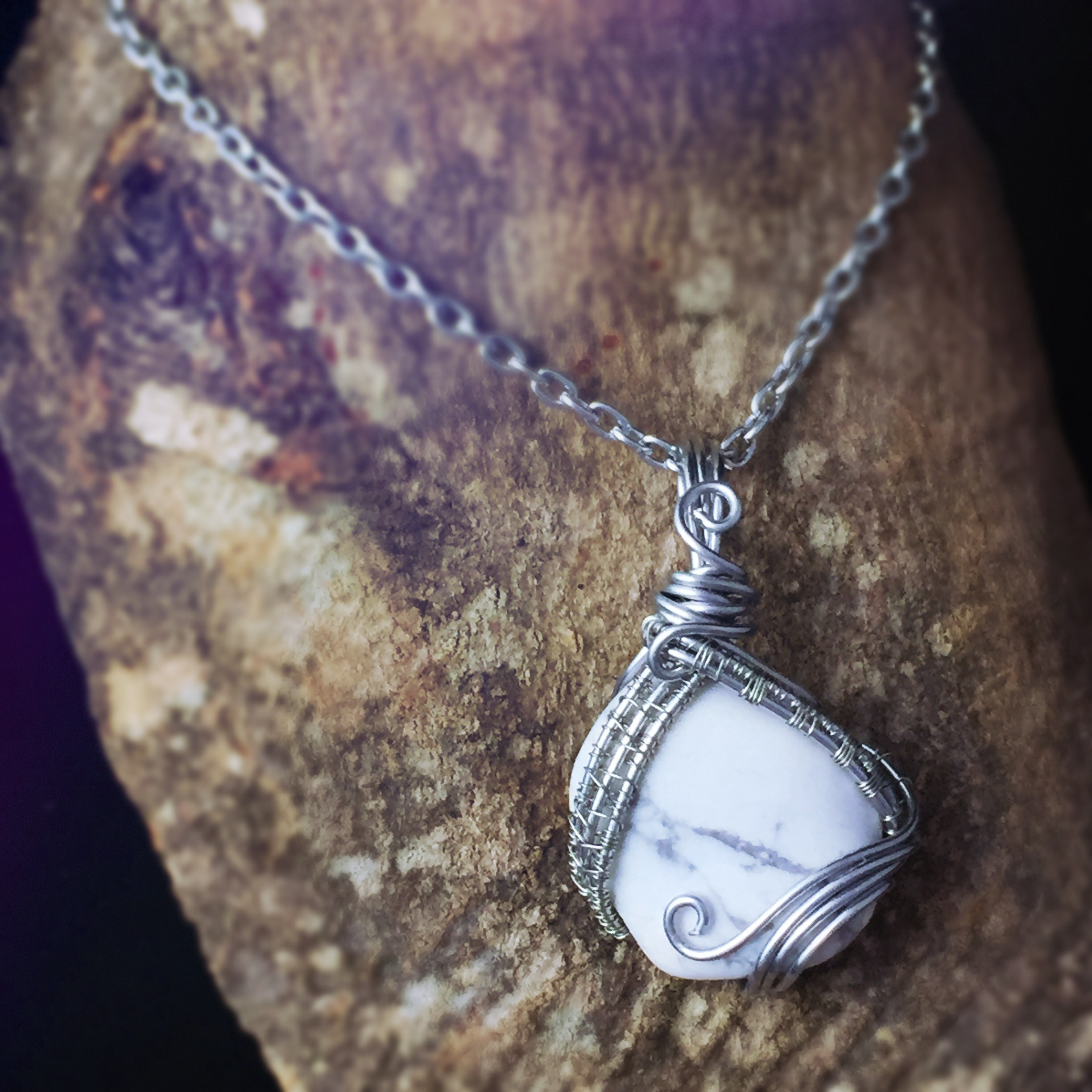 Wire Wrapped Howlite Healing Stone perfect for Gemini, designed by And Zen Some