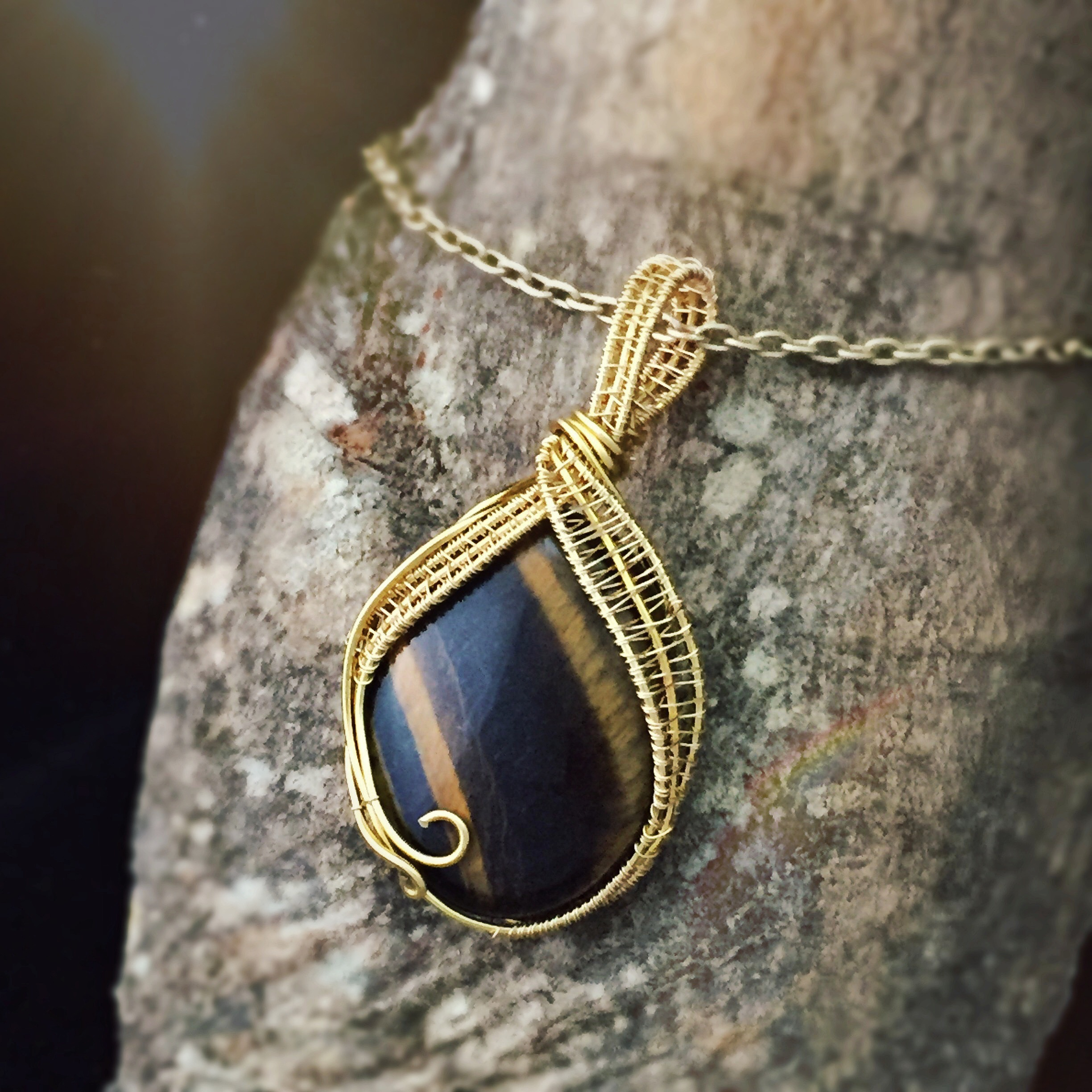 Wire Wrapped Tiger Eye for awakening Leo's fierce energy! Handmade by And Zen Some