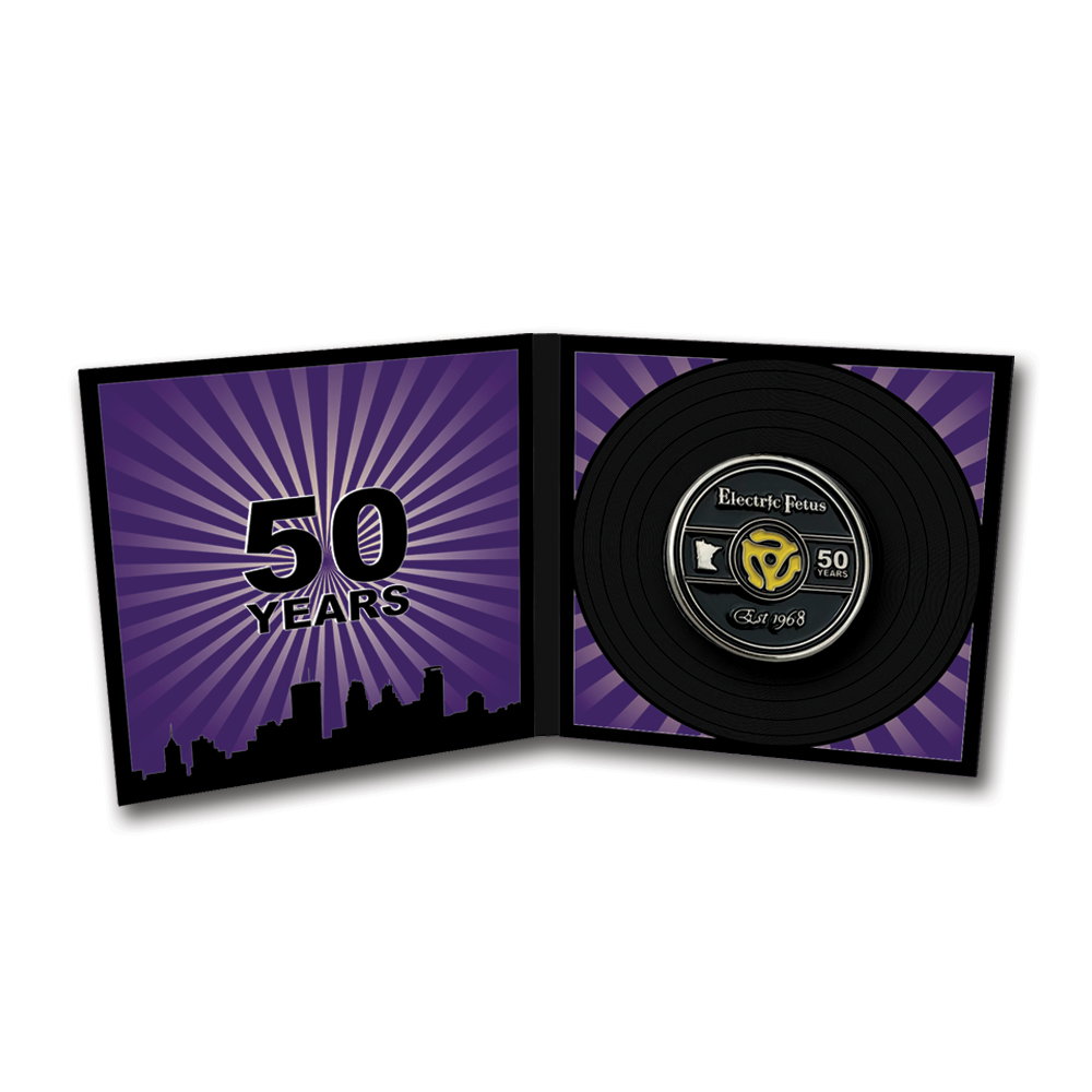 Electric Fetus- 50th Anniversary Enamel Pin Packaging- by waxoffdesign
