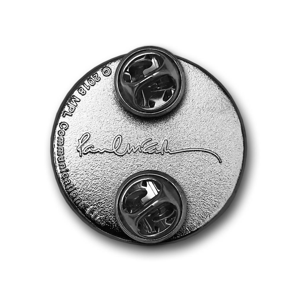Paul McCartney- Smiley Face Enamel Pin Back- by waxoffdesign