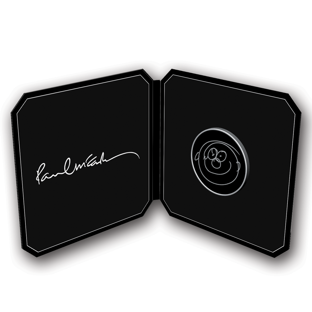 Paul McCartney- Smiley Face Enamel Pin Packaging- by waxoffdesign