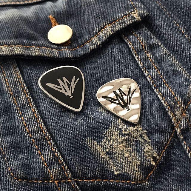 @chriscornellofficial signature guitar pick pin set.  Available from ChrisCornellMerchandise.com   #chriscornell #soundgarden #audioslave #guitarpick #plectrum #pin #enamelpin #pingane #pingamestrong #officiallylicensed #bandmerch #waxoffdesign
