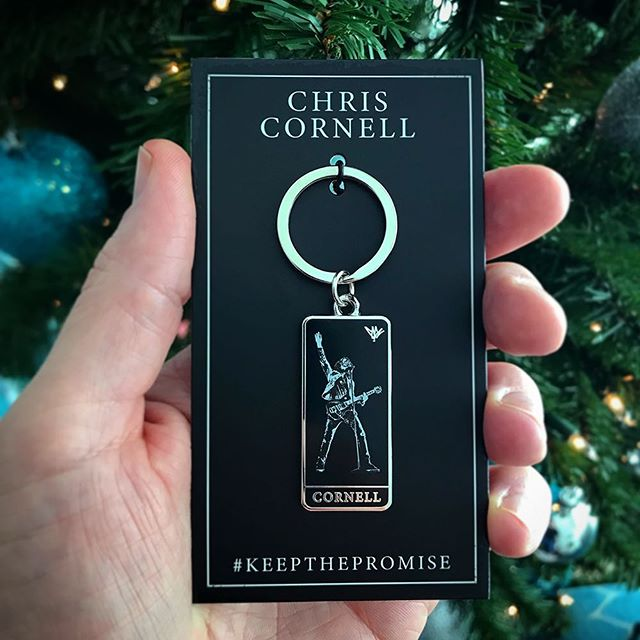@chriscornellofficial hard enamel keychain featuring signature and stage photo.  Includes custom packaging.   Available from ChrisCornellMerchandise.com.  #chriscornell #soundgarden #keepthepromise #keychain #bandmerch #custommerch #promotionalproducts #waxoffdesign
