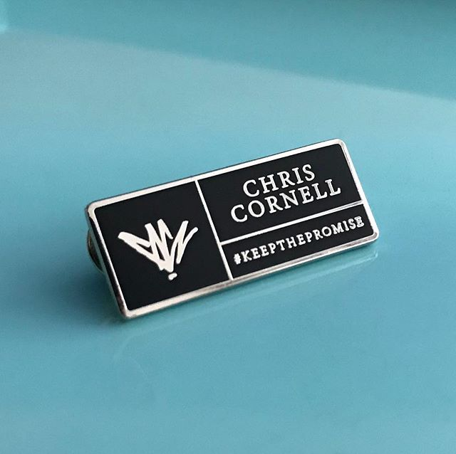 Our matte finish hard enamel @chriscornellofficial  signature pin includes custom packaging with satin/glossy print details.  Available from ChrisCornellMerchandise.com.  #chriscornell #iamthehighway #keepthepromise #soundgarden #audioslave #bandmerch #enamelpin #custommerchandise #custompackaging #waxoffdesign