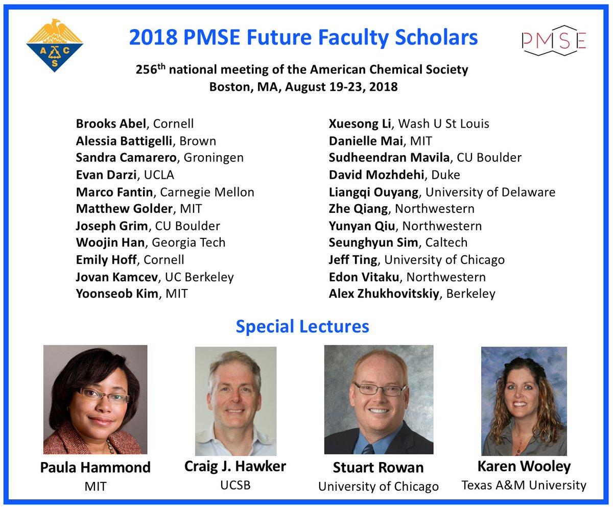 Future Faculty Scholar – PMSE, ACS - Selected as one of the future faculty scholars. (link)Boston, MA, August 2018
