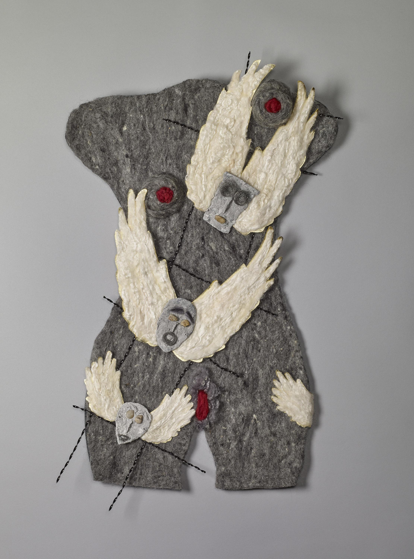 """raised up"", hand-felted fiber, mixed media, 24 x 16"""