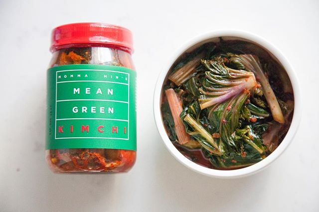 Mean Green Kimchi is packed with good-for-you greens like Kale, Collard Greens, Rainbow Chard & Bok Choy #kimchi #kale #mommamins