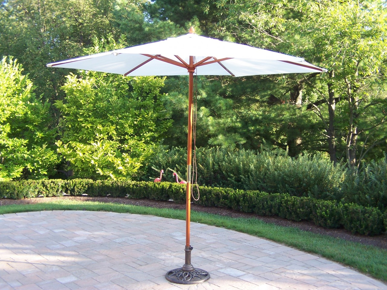 Outdoor Umbrella with Base (White or Beige)