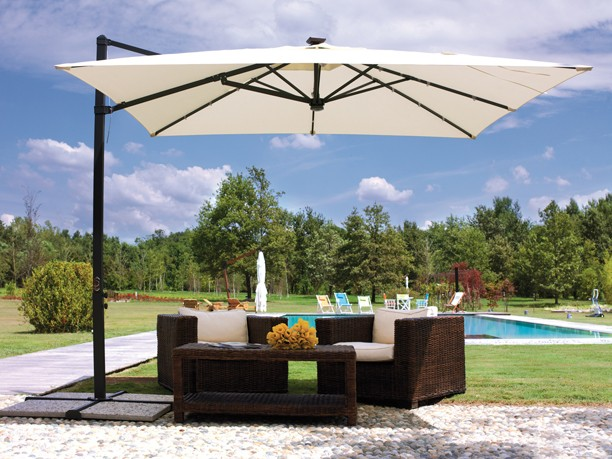 Large Curved Outdoor Umbrella with Base (White or Beige)
