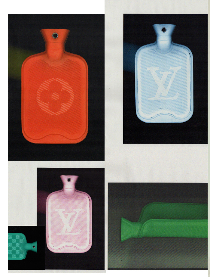 - Hand lino-cut water bottles