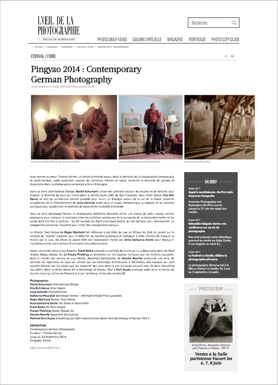 Loeil de la photographie, Pingyao 2014 Paris, France, 2014