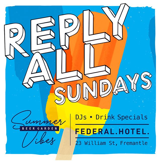 We were engaged to create some promos for the new Sunday Session ('Reply All') at the Federal Hotel in Freo on a theme of classic, fun, summer arvo vibes. Check it out - great tunes and atmosphere every Sunday. . . . #insomniadesign #design #branding #bargraphics #sundaysession #summervibes #fremantle #federalhotel
