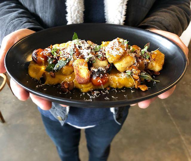 Pan fried potato gnocchi with pumpkin purée has our vote 🎃 #gnocchi
